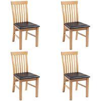 vidaXL Esszimmerstühle 4 Stk. Massivholz Eiche und Kunstleder