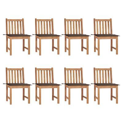 vidaXL Gartenstühle 8 Stk. mit Kissen Massivholz Teak
