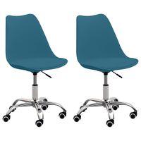 vidaXL Bürostühle 2 Stk. Türkisblau Kunstleder