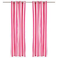 vidaXL Vorhänge mit Metallösen 2 Stk. Stoff 140 x 225 cm Rosa Streifen
