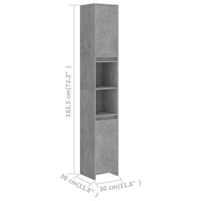 vidaXL Badezimmerschrank Betongrau 30x30x183,5 cm Spanplatte