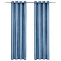 vidaXL Vorhänge mit Metallösen 2 Stk. Baumwolle 140 x 245 cm Blau