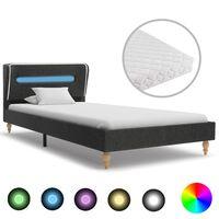 vidaXL Bett mit LED und Matratze Dunkelgrau Sackleinen 90 x 200 cm