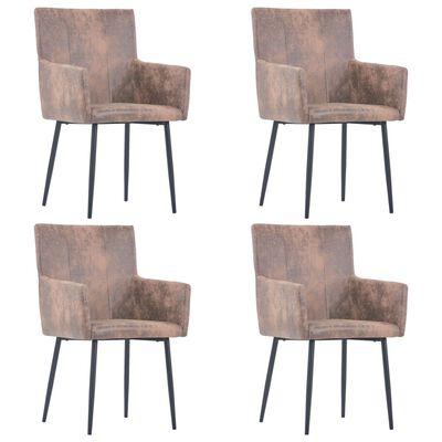 vidaXL Esszimmerstühle mit Armlehnen 4 Stk. Braun Wildleder-Optik