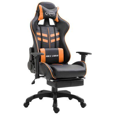 vidaXL Gaming-Stuhl mit Fußstütze Orange Kunstleder