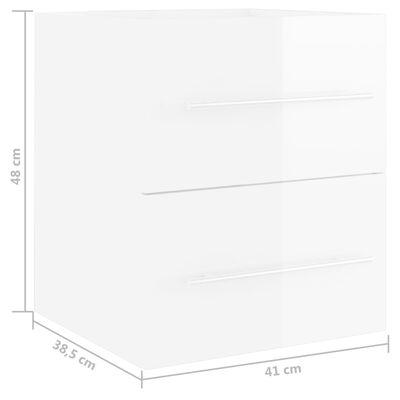 vidaXL Waschbeckenunterschrank Hochglanz-Weiß 41x38,5x48 cm Spanplatte
