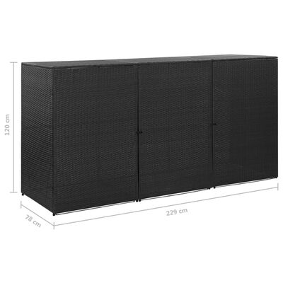 vidaXL Mülltonnenbox für 3 Tonnen Schwarz 229x78x120 cm Poly Rattan