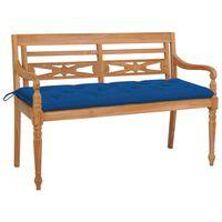 vidaXL Batavia-Gartenbank mit Blauer Auflage 150 cm Massivholz Teak