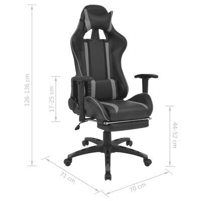 vidaXL Neigbarer Racing-Bürostuhl mit Fußstütze Grau