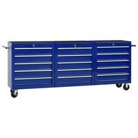 vidaXL Werkzeugwagen mit 15 Schubladen Stahl Blau