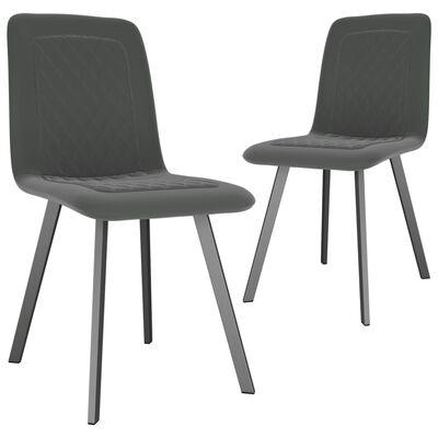 vidaXL Esszimmerstühle 2 Stk. Grau Samt