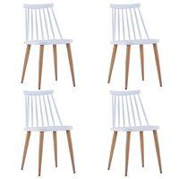 vidaXL Esszimmerstühle 4 Stk. Weiß Kunststoff