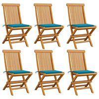 vidaXL Gartenstühle mit Blauen Kissen 6 Stk. Massivholz Teak