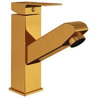 vidaXL Waschbeckenarmatur mit Herausziehbarer Brause Golden 157x172 mm