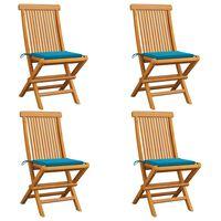 vidaXL Gartenstühle mit Blauen Kissen 4 Stk. Teak Massivholz