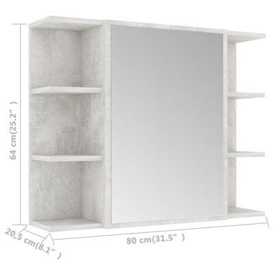 vidaXL Bad-Spiegelschrank Betongrau 80x20,5x64 cm Spanplatte