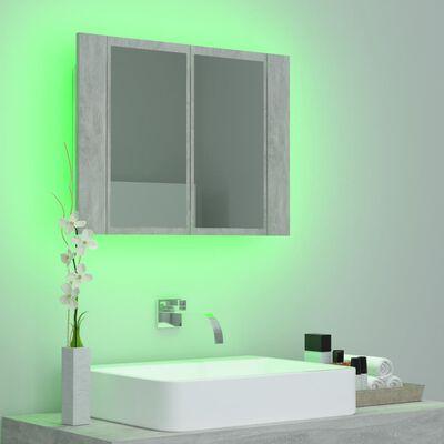 vidaXL LED-Bad-Spiegelschrank Betongrau 60x12x45 cm