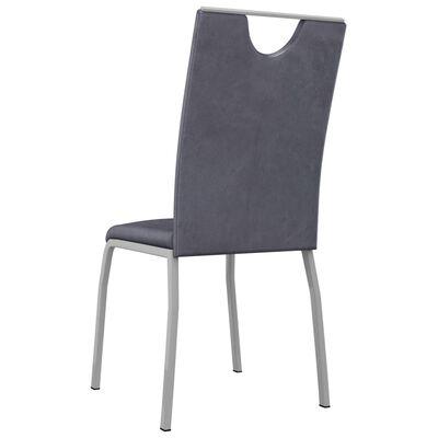 vidaXL Esszimmerstühle 2 Stk. Wildleder-Grau Kunstleder