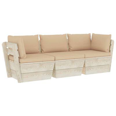 vidaXL Garten-Palettensofa 3-Sitzer mit Kissen Fichtenholz
