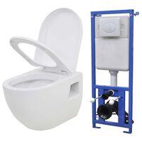 vidaXL Hänge-Toilette mit Einbau-Spülkasten Keramik Weiß