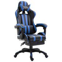 vidaXL Gaming-Stuhl mit Fußstütze Blau Kunstleder