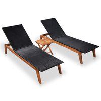 vidaXL Sonnenliegen 2 Stk. mit Tisch Poly Rattan Massivholz Akazie
