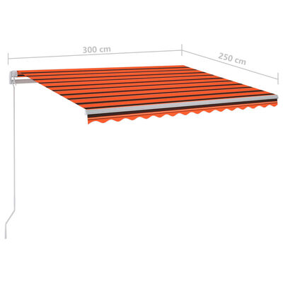 vidaXL Gelenkarmmarkise Einziehbar mit LED 300x250 cm Orange und Braun