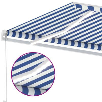 vidaXL Gelenkarmmarkise Einziehbar mit LED 350x250 cm Blau und Weiß