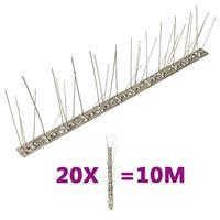 vidaXL 20-tlg. Vogelabwehr-Spikes-Set 10 m Edelstahl 5-reihig