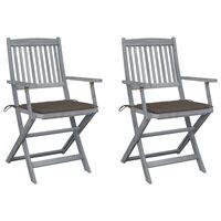 vidaXL Klappbare Gartenstühle 2 Stk. mit Sitzkissen Massivholz Akazie