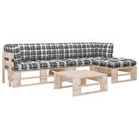 vidaXL 4-tlg. Paletten-Lounge-Set mit Kissen Kiefernholz Imprägniert