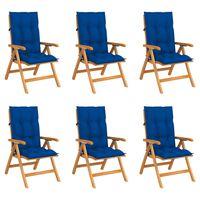 vidaXL Verstellbare Gartenstühle mit Auflagen 6 Stk. Massivholz Teak