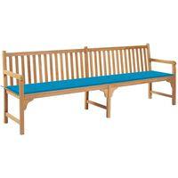 vidaXL Gartenbank mit Blauer Auflage 240 cm Massivholz Teak