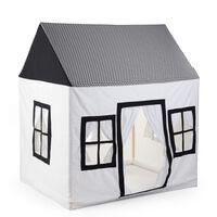 CHILDHOME Spielhaus 125x95x145 cm Canvas Weiß und Schwarz