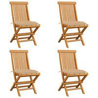 vidaXL Gartenstühle mit Beige Kissen 4 Stk. Massivholz Teak