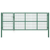vidaXL Gartentor mit Pfosten 350 x 120 cm Stahl Grün