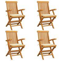 vidaXL Gartenstühle mit Cremeweißen Kissen 4 Stk. Teak Massivholz
