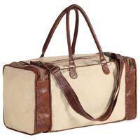 vidaXL Weekender-Tasche Beige 54x23x52 cm Segeltuch und Echtleder