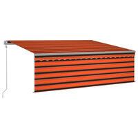 vidaXL Gelenkarmmarkise Automatisch mit Volant 4,5x3 m Orange & Braun