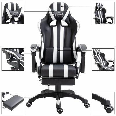 vidaXL Gaming-Stuhl mit Fußstütze Weiß Kunstleder