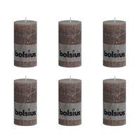 Bolsius Stumpenkerze Kerzen 130x68 mm braungrau 6 tlg.