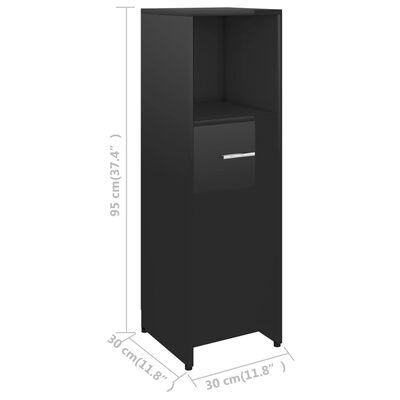 vidaXL Badezimmerschrank Hochglanz-Schwarz 30x30x95 cm Spanplatte