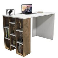 Homemania Computer-Schreibtisch Inci 120x60x75 cm Weiß und Walnuss