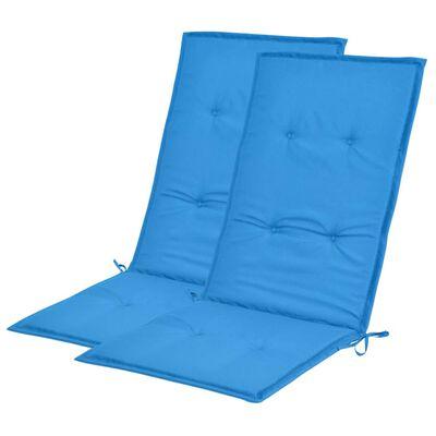 vidaXL Gartenstuhl Auflage Hochlehner 2 Stk. Blau 120 x 50 x 3 cm