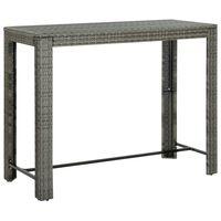 vidaXL Garten-Bartisch Grau 140,5x60,5x110,5 cm Poly Rattan
