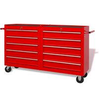 vidaXL Werkstattwagen mit 10 Schubladen XXL Stahl Rot