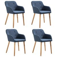 vidaXL Esszimmerstühle 4 Stk. Blau Stoff und Massivholz Eiche