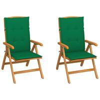 vidaXL Gartenstühle 2 Stk. mit Grünen Kissen Massivholz Teak