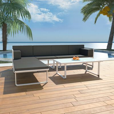 vidaXL 4-tlg. Garten-Lounge-Set mit Auflagen Aluminium Schwarz