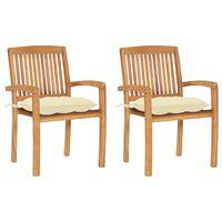 vidaXL Gartenstühle 2 Stk. mit Cremeweißen Kissen Massivholz Teak